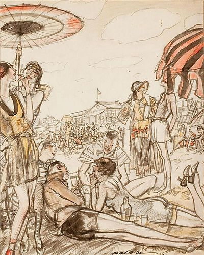 The Beach, Henry Patrick Raleigh | 1923   [2/2]  Identifiable by his ink-sketch style overlaid with colored washes, Henry Patrick Raleigh (1880-1944) spent decades navigating high society and portraying opulent life as one of America's highest paid illustrators.  He  created illustrations for iconic publications such as Harper's Bazaar, The Saturday Evening Post, Vanity Fair and Colliers