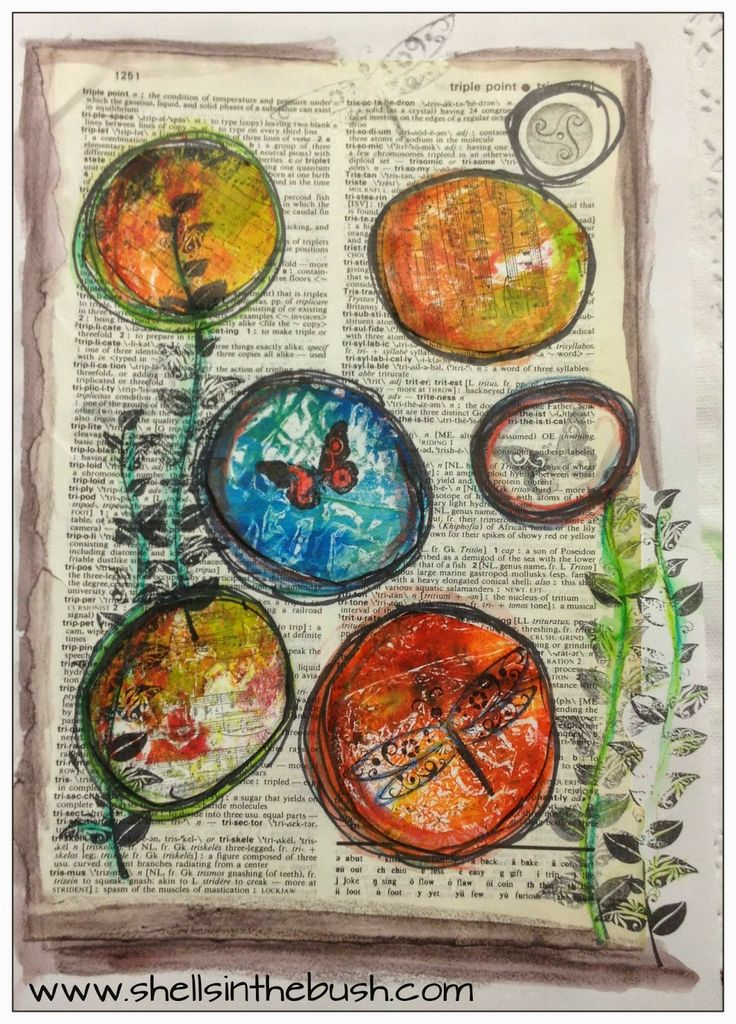 Shells in the Bush: DLP Wk 20 Stamps - stamps under and over gelli prints.