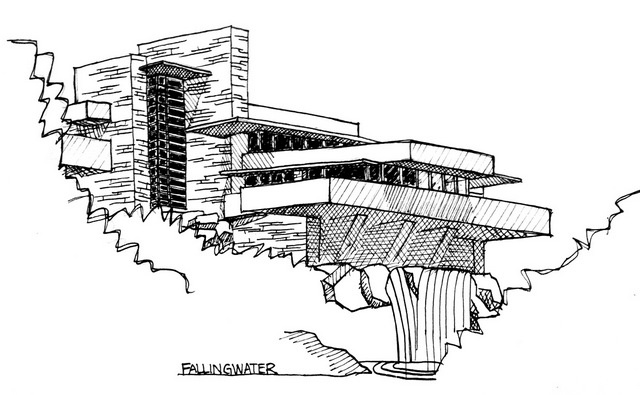 Falling water house sketch artwork on pinterest frank for Frank lloyd wright coloring pages