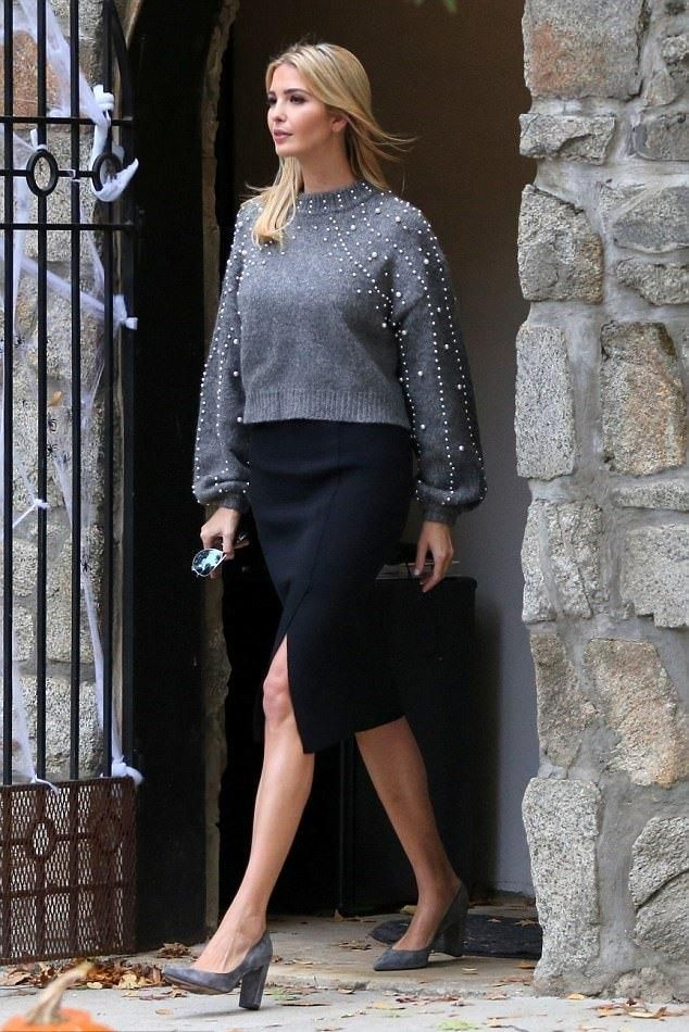 Ivanka Trump wearing Ivanka Trump Katie Suede Pumps in New Deep Grey and Zara Cropped Sweater With Faux Pearls