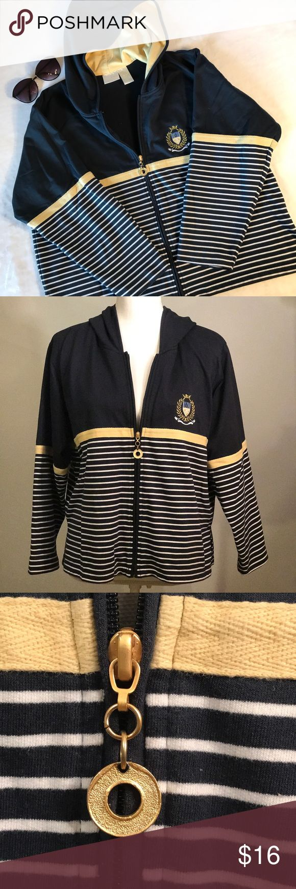 "Koret K-Wear Petites blue nautical zip up hoodie Koret K-Wear Petites navy blue nautical zip up hoodie. Navy blue with yellow knit band at waist and on sleeves. White stripes on bodice and sleeves. Full zip up. Hoodie lined in yellow. Side slits. Embroidered emblem on chest and gold tone zipper charm. Nautical style lightweight hoodie jacket. Size large petite. EUC, excellent used condition. Measurements taken laid flat. 18"" shoulder width, 23"" bust, 23 ½"" length. Koret Jackets & Coats"