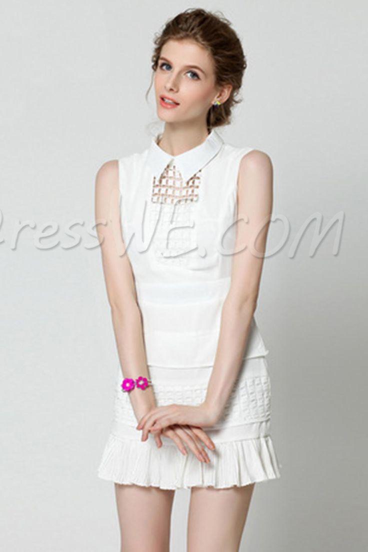 $33.09 Dresswe.comサプライ品人気のラペルは、偽のツーピースノースリーブシースドレスを空洞化