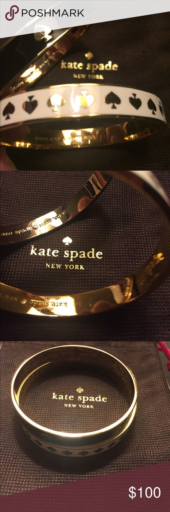 Kate Sapde bangle duo Perfect pair of bangles together pair with your fav watch for the hot blogger fave look! I take extremely good care of my things and jewelry I am sole owner of both of these! Excellent worn condition - this listing is for both plus the dust bag! kate spade Jewelry Bracelets