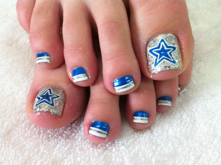 Dallas Cowboys Toe Nail Design By Fancy Nails Of Irving Irving
