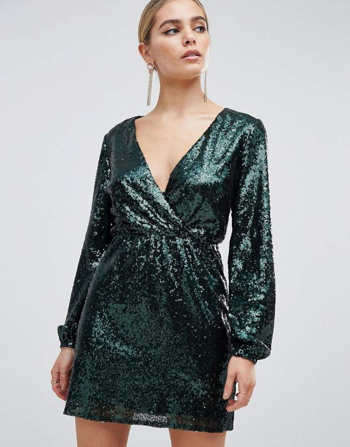 d2ff314a11 Outrageous Fortune sequin wrap front long sleeve skater dress in emerald  green