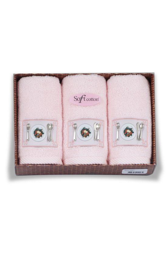 Różowe kuchenne frotte ręczniki KITCHEN w ozdobnym opakowaniu 32x50 cm.