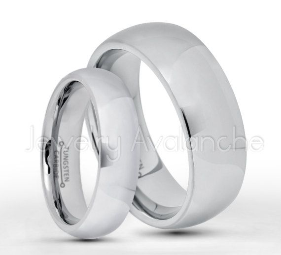 Tungsten Wedding Band Set, 5.5mm & 8mm Classic Dome Tungsten Carbide Bride and Groom Wedding Rings, Matching Anniversary Rings TN013-013B