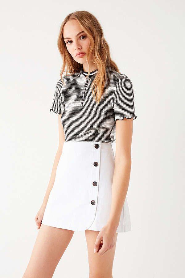 4e6d4e2a9ef9 UO Shelly Twill Button-Down Mini Skirt | ᗯᕼITE & Oᖴᖴ ᗯᕼITE ...