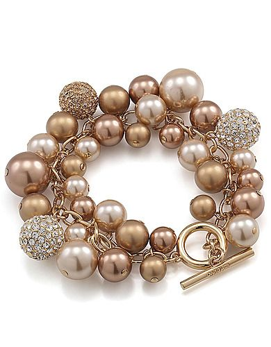 Crystal and Gold Pearl Charm bracelet - something like this, but with silver coloured metal, or a very pale gold tone