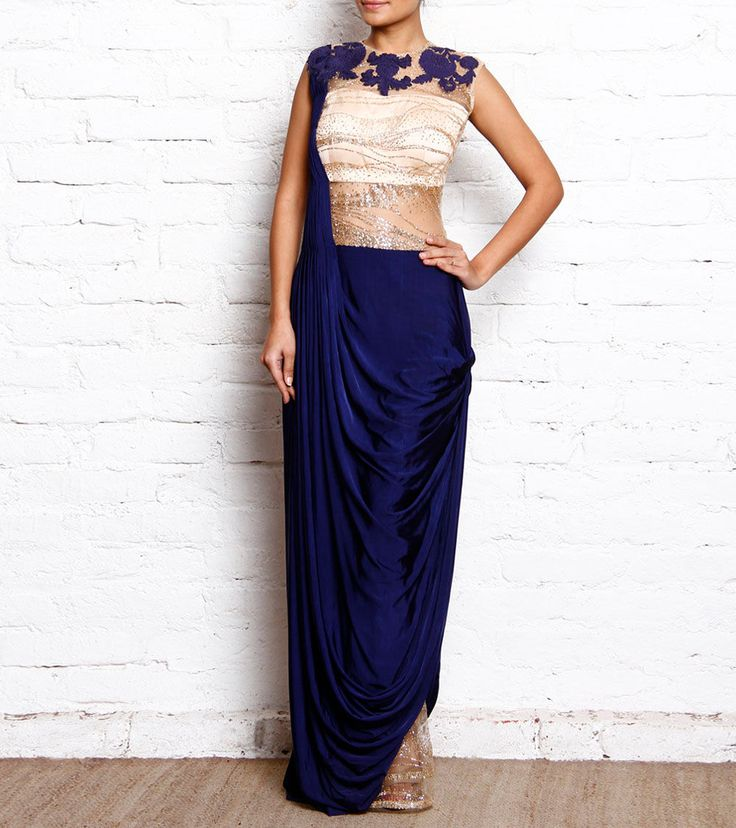 #Royal #Blue Sequined #Lycra Cowled #Saree #Gown by #Reeti #Arneja at #Indianroots