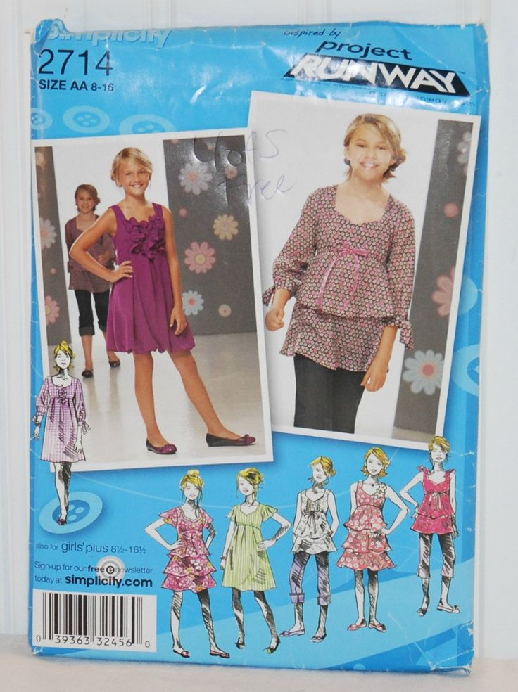 Simplicity 2714 Project Runway (c.2009) Girls' and Girls' Plus Size Dresses, Tunic and Skirts, Sizes 8-16, School, Casual, Fun Clothes by TooHipChicks on Etsy