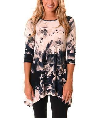 Navy & White Floral Sidetail Tunic - Plus