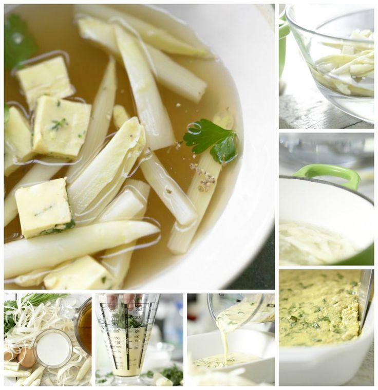Eierstich und Spargel in der Suppe erwärmen und die klare Spargelsuppe in vorgewärmten tiefen Tellern servieren: Klare Spargelsuppe – smarter mit Eierstich |http://eatsmarter.de/rezepte/klare-spargelsuppe