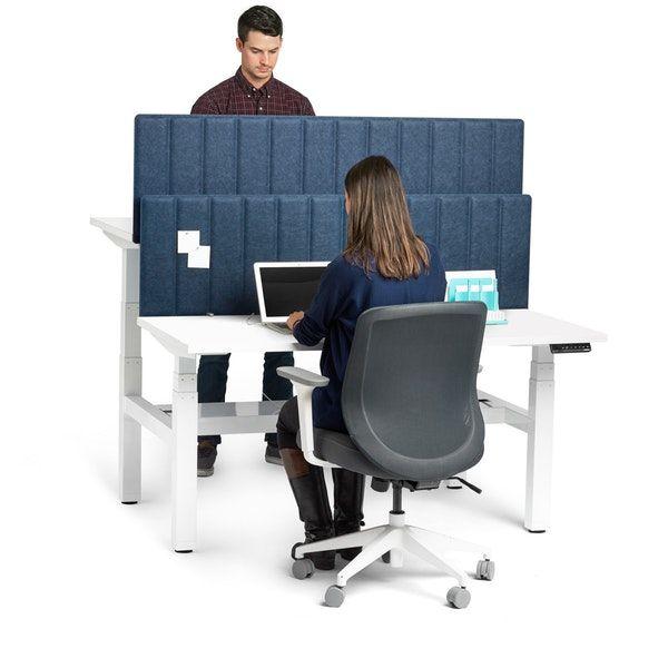 """Loft Adjustable Height Standing Double Desk for 2, Light Oak, 47"""", White Legs,Light Oak"""