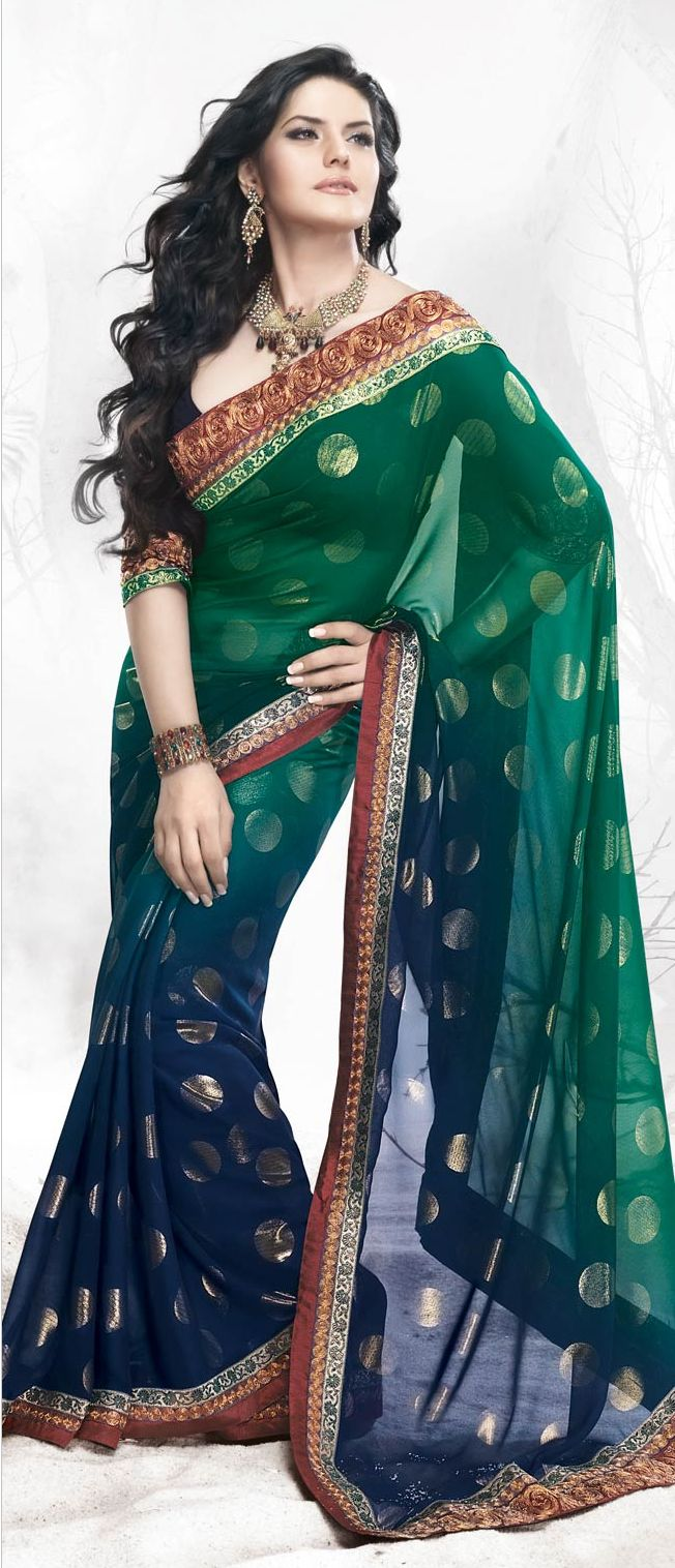 #Blue Georgette #Saree  Check out this page now :-http://www.ethnicwholesaler.com/sarees-saris/georgette-sarees