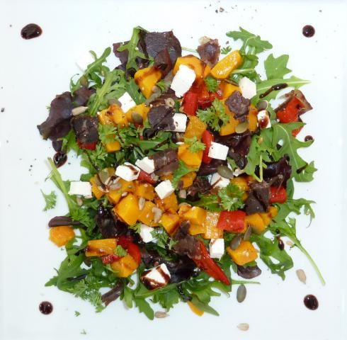 Our favourite Biltong Salad with rocket and roast butternut