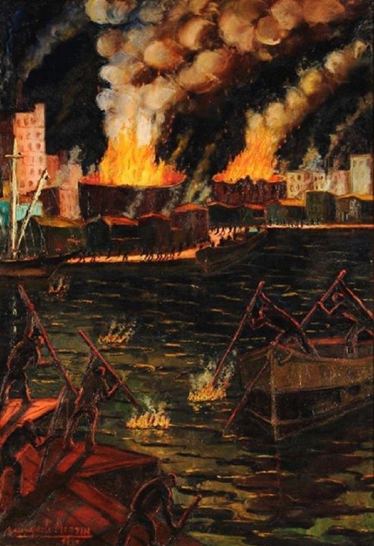 Incendio en Tanques de Petróleo ― Benito Quinquela Martín