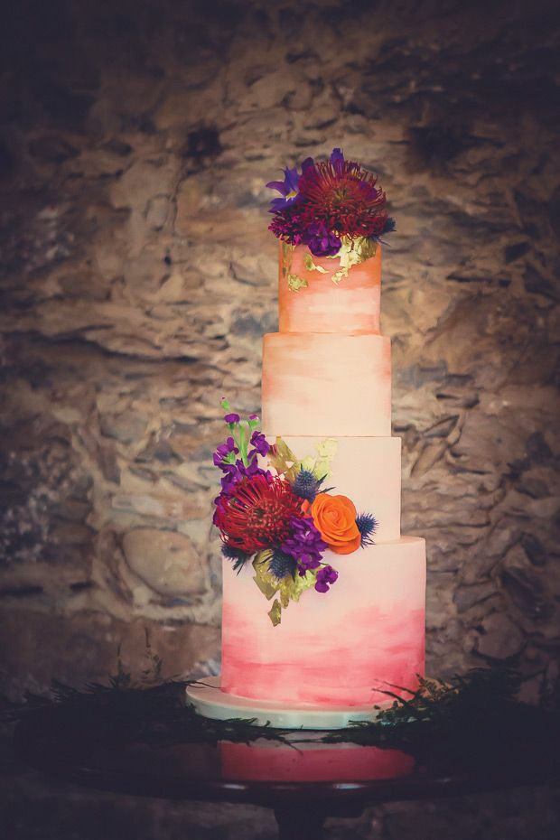 Pink Watercolour wedding cake | see it all on www.onefabday.com