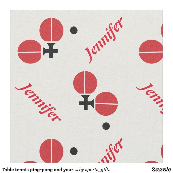 Table tennis ping-pong rackets and ball and your name personalized black, red custom fabric