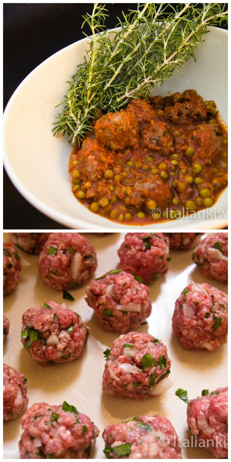 Polpette con Piselli (meatballs with peas) is a hearty Italian main that warms up those Fall days!