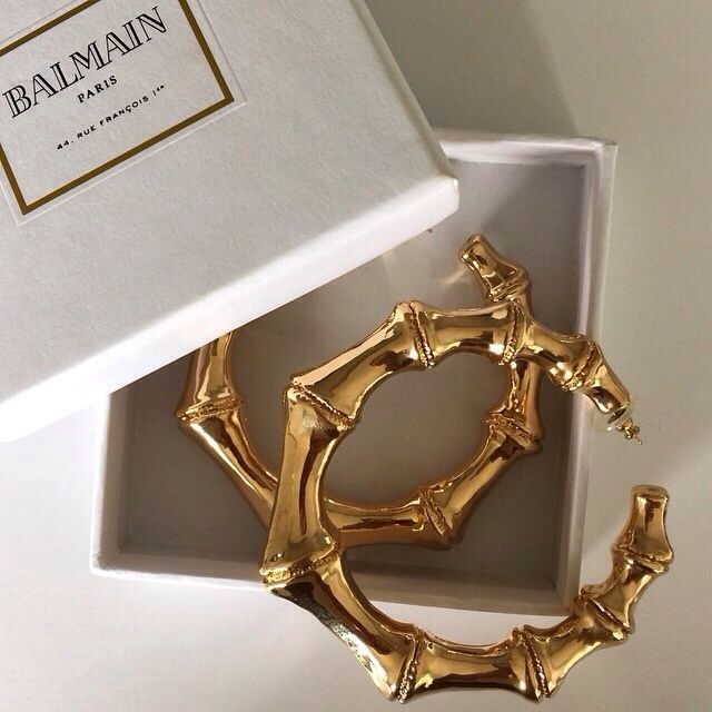 ok I would never buy bamboo earrings from Balmain lol they are like 2 dollars at the beauty supply