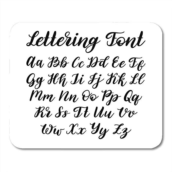 Amazon Com Nakamela Mouse Pads Brush Black Script Hand Lettering Alphabet Calligraphy Letters On Wh Lettering Alphabet Lettering Calligraphy Letters Alphabet