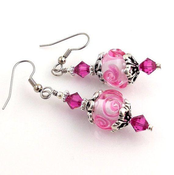 Pink Lampwork Earrings Dangle Earrings Drop Earrings by ramonahall, $35.00