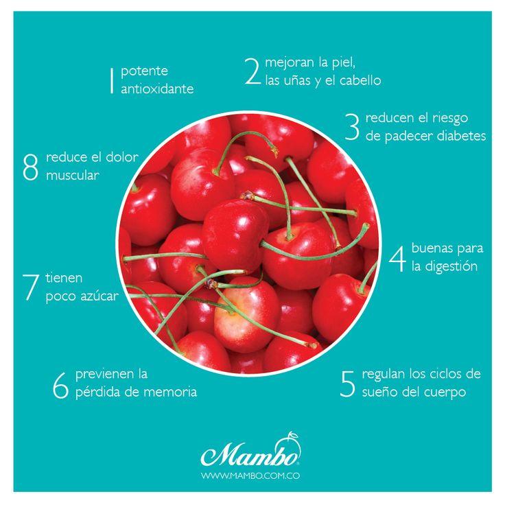 8 beneficios de las cerezas. Frutas y verduras Mambo. www.mambo.com.co