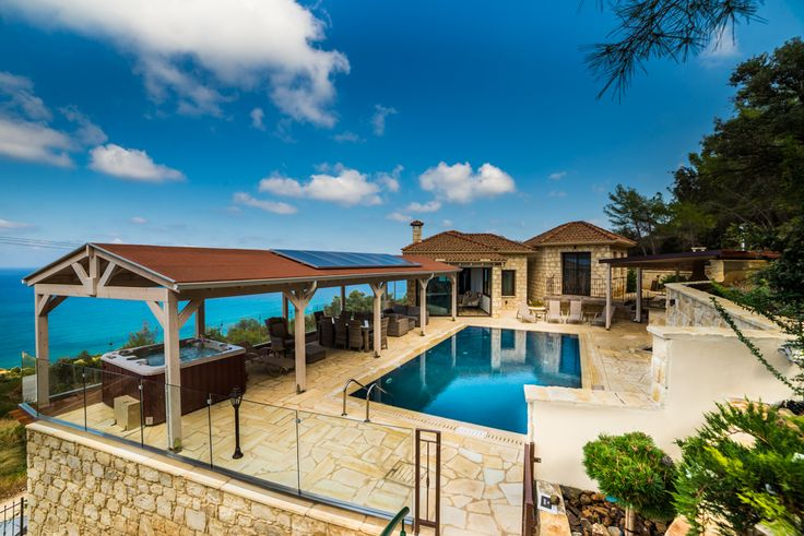 Thalia Cyprus Sleeps up to 8. With gorgeous views over countryside to pretty Pomos harbour, and stylishly furnished terraces from which to enjoy them, this family villa in Cyprus also has a hot tub, sauna and cinema room.