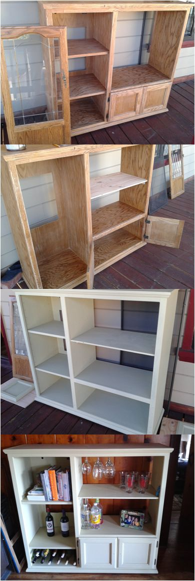 Upcycled an old entertainment center into a wine cabinet. Super easy!
