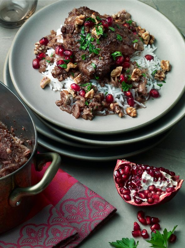 Pomegranate Walnut braised chicken -- I love seeing Persian food pop up on food blogs!
