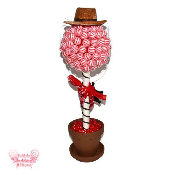 Sheriff Lollipop Candy Topiary Cowboy Birthday by EdibleWeddings