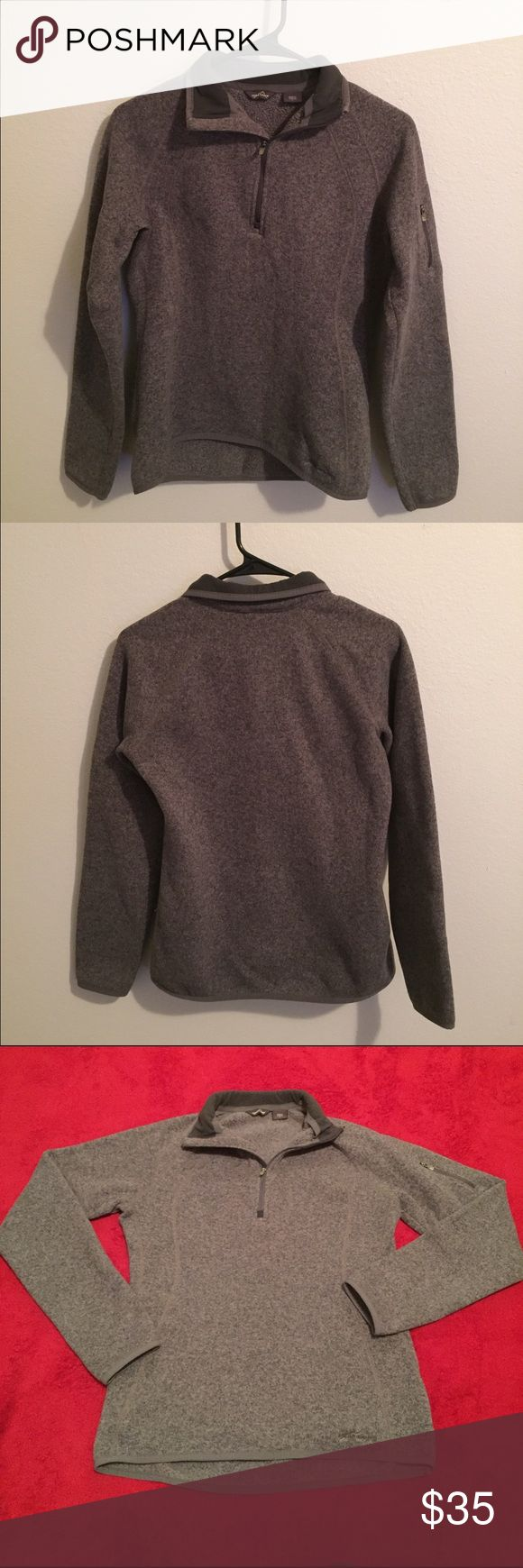 Eddie Bauer 1/4 Zip Up Gray Radiator Fleece Small Very nice and comfy gray Eddie Bauer fleece pullover. Size is small and fits like that. It has a zipper on the left sleeve. It is a shaped fit and 100 percent polyester! Worn but still in very good condition! Eddie Bauer Sweaters