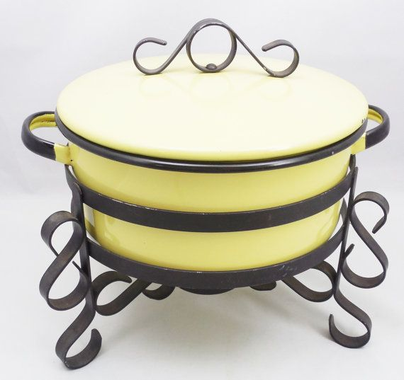 Vintage Yellow Enamel Dish with Stand, Vintage Chafing Dish with Stand, Warming Dish with Stand