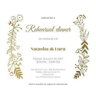 Side by Side Gold - Free Printable Rehearsal Dinner Party Invitation Template | Greetings Island