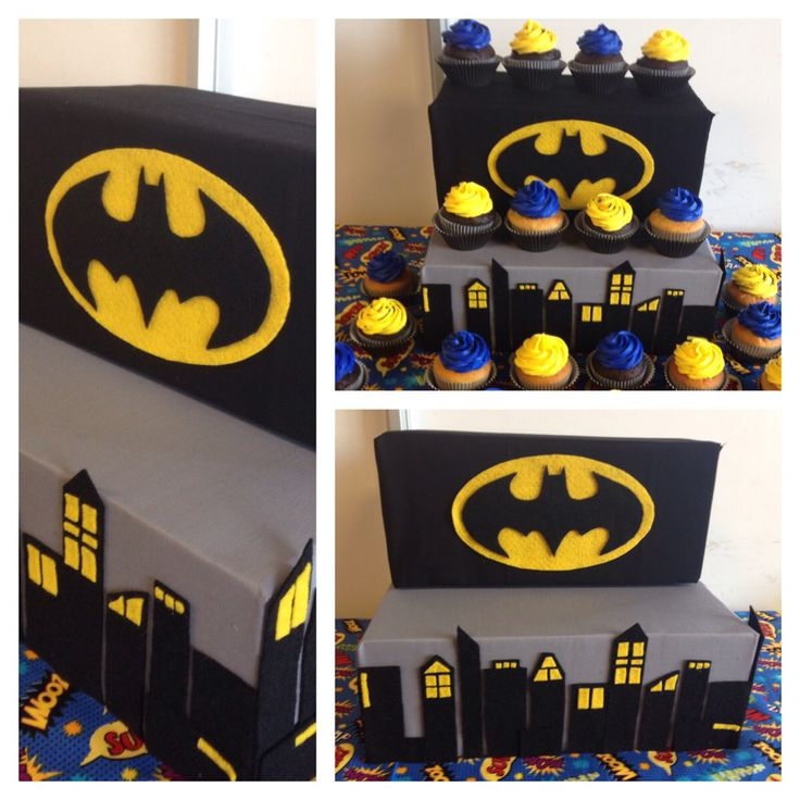 Batman Gotham City Cake Stand And Cupcakes Olive S Cakes