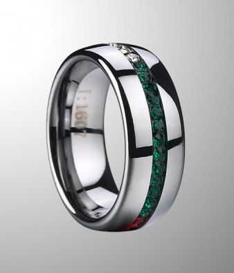 Perfect combination of fashion tungsten carbide and beautiful crystal stone. You have to take a look.