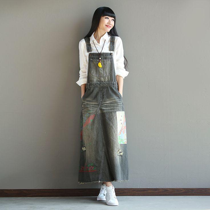 Women Denim Vintage Dress Scratched Printed Pockets Retro Denim Patchwork Dress Strap Dresses 2017 Spring