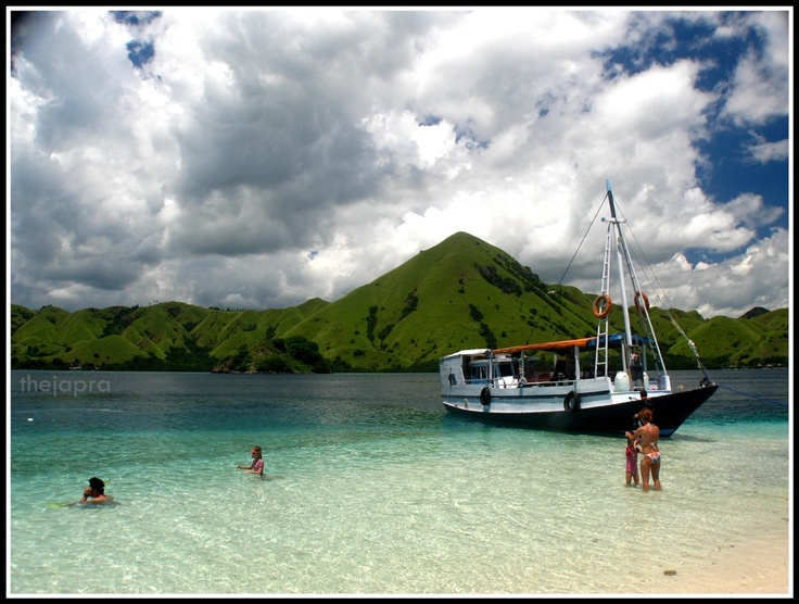 It's Hidden Island around Komodo Island - Indonesia. I just taking this picture when my friends too excited and jump to the beach :)    #Island #Flores #Indonesia #Beach
