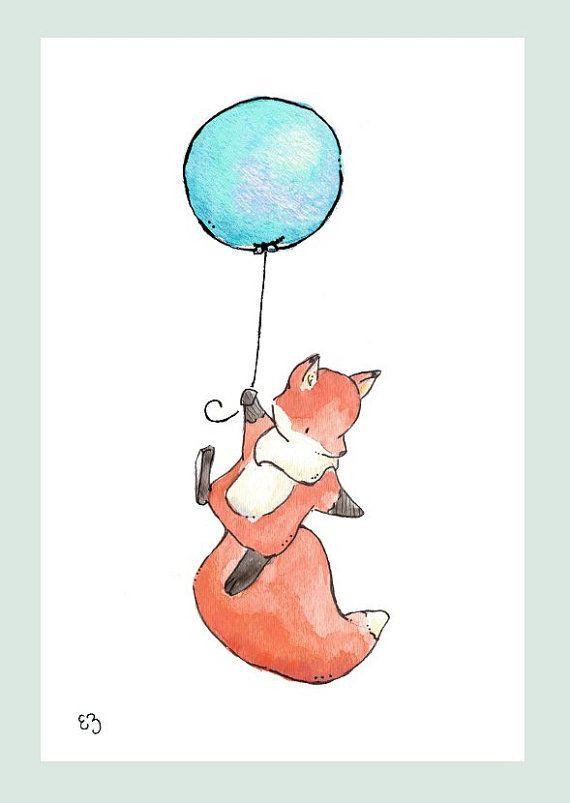 Children Art Print. Fox Flies Away. PRINT 8X10. Nursery Art Home Decor