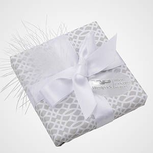DIY Gift Wrapping with Feather and Satin Ribbon. White. Classic. Wrapping.