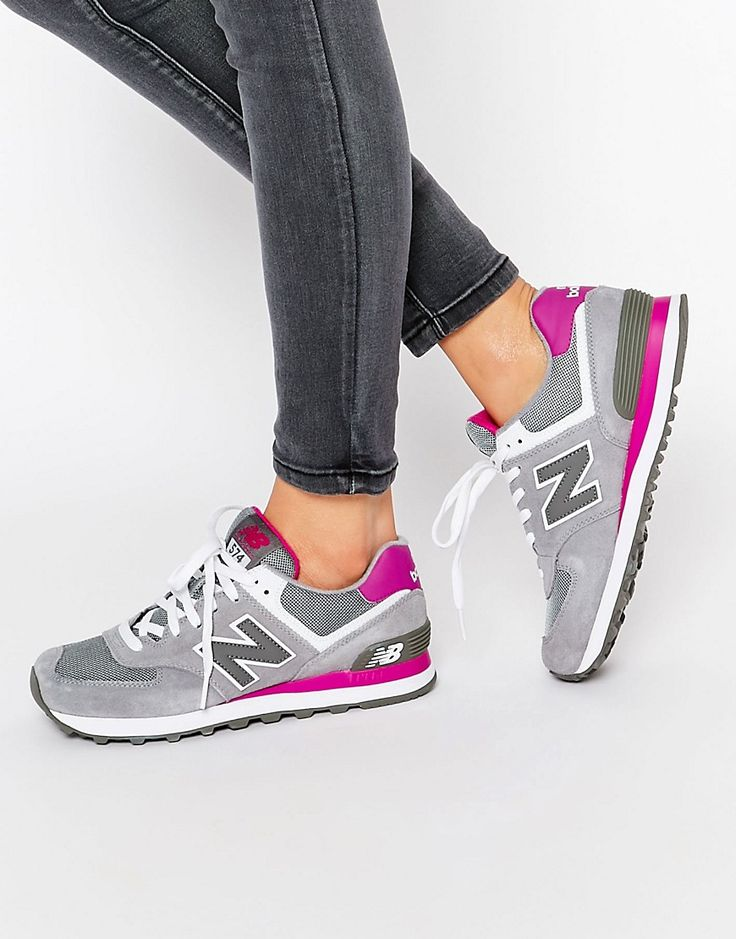 Image 1 ofNew Balance 574 Grey & Pink Trainers