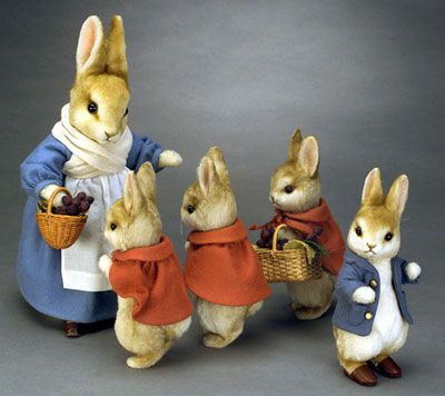 These are the characters from 'The Tale of Peter Rabbit' written and illustrated by Beatrix Potter.