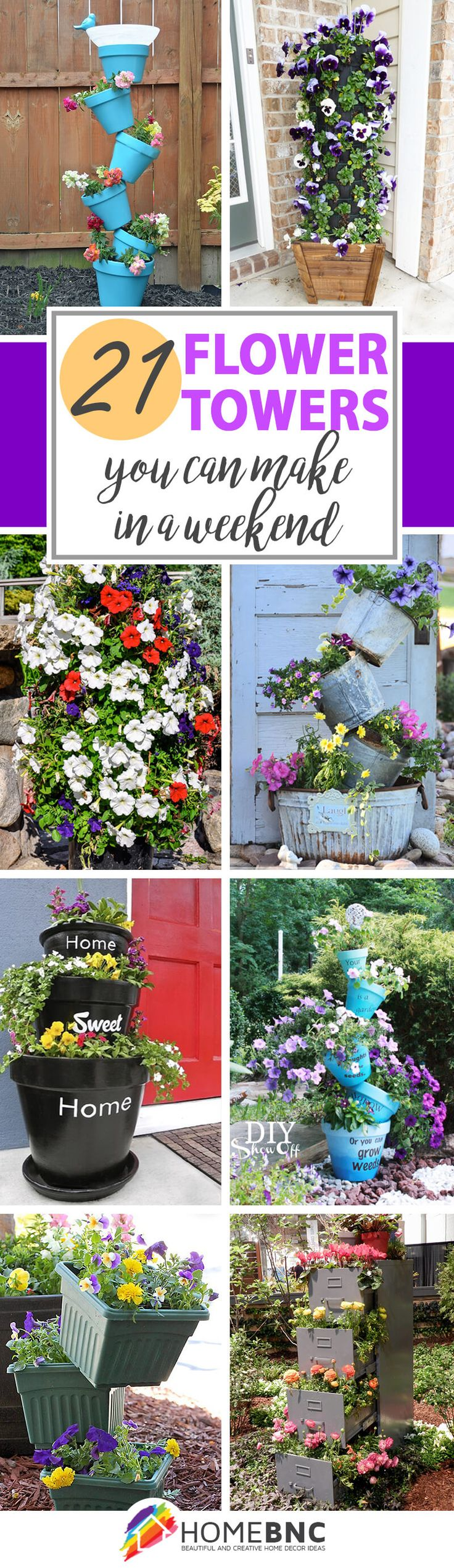 DIY Flower Tower Ideas--BY HOMEBNC  Flower towers are a great way to add some color, and the height really helps you maximize your space. They're perfect for those who have smaller yards or who don't want to spend a lot of time caring for a big garden.
