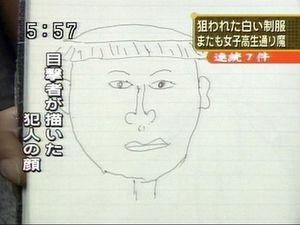 目撃者が描いた犯人の顔