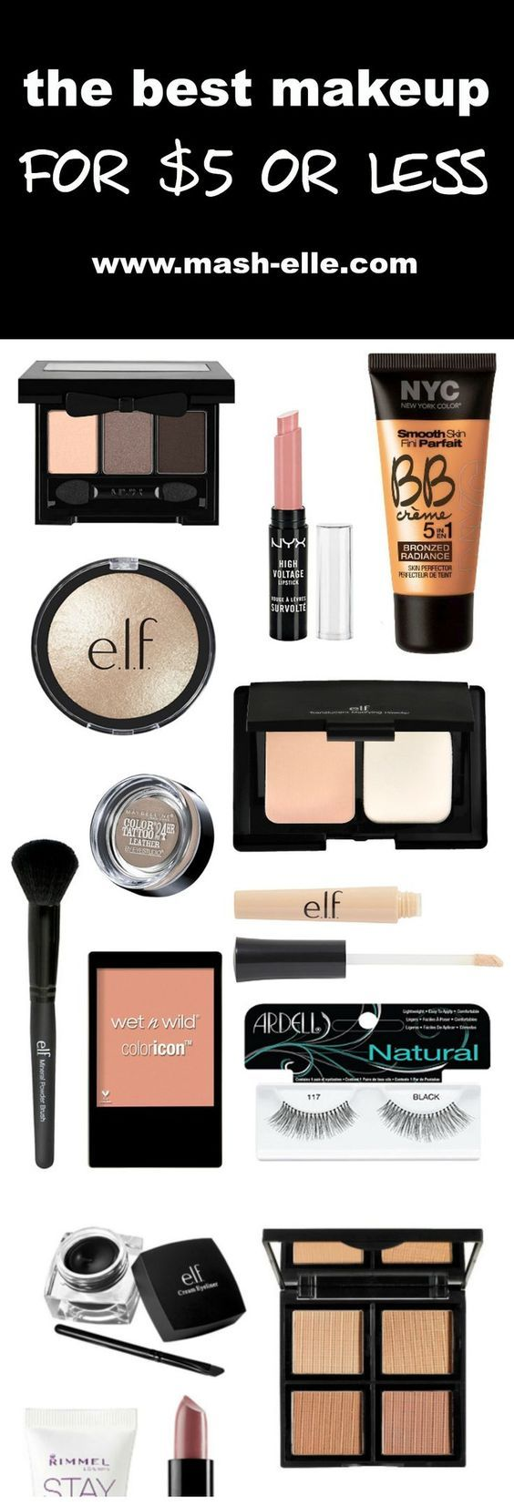 The ultimate roundup of makeup under $5! Featuring brands such as e.l.f, NYC, Maybelline, Milani, NYX, NYC, Wet N Wild and so many more! Beauty blogger Mash Elle gives a roundup of 40+ affordable makeup products all $5 or less! Perfect for beginners, these makeup products will be the perfect gifts for the ones you love!
