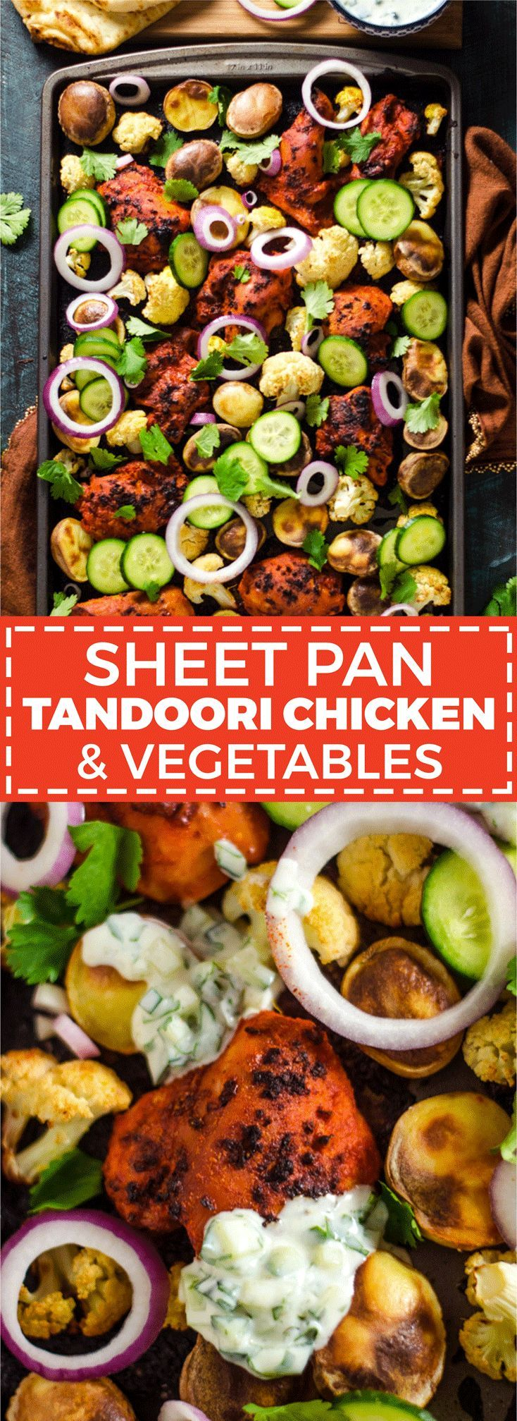Sheet Pan Tandoori Chicken and Vegetables. This Indian-inspired recipe creates a full, delicious dinner with very little effort. | http://hostthetoast.com