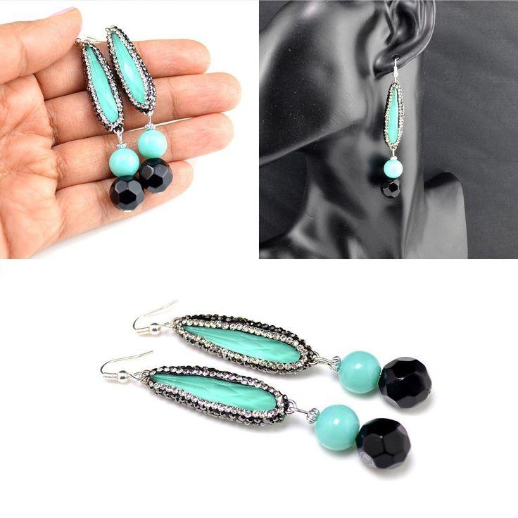 Turquoise Rhinestone Glass Beads Earrings! Bespoke earrings by HKS Jewellery!