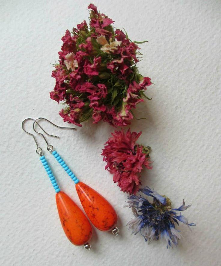 Orecchini arancia / Handmade boho earrings  #earrings #fashion #colorful #handmade #bohemianjewelry