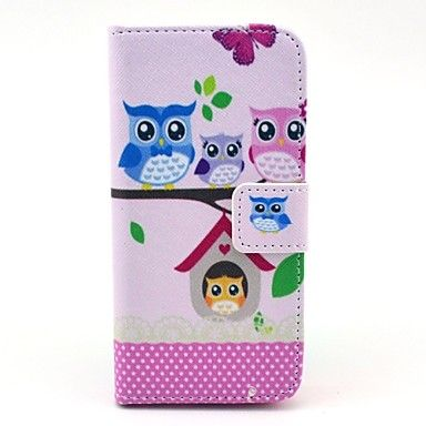 Owl Family Cartoon Pattern Full Body lærveske med kort holder til iPhone 5C – NOK kr. 61